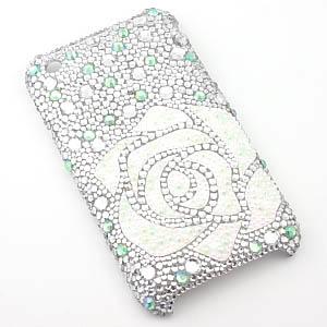AKIMAKI デコ・iphone3カバー・iphone3ケース 白バラ・クリアグリーン